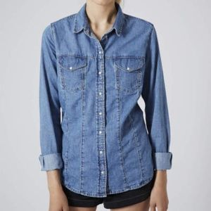 Top Shop Moto denim long sleeve button up shirt